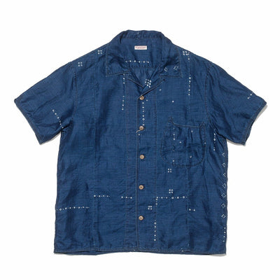 French Cloth Linen Bandana Dye Aloha Shirt in Indigo