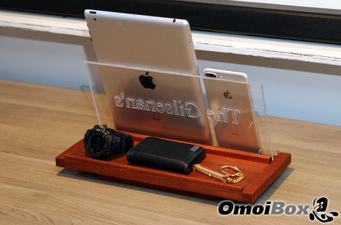 Personalized Mahogany Rotating Tablet And Cell Phone Stand