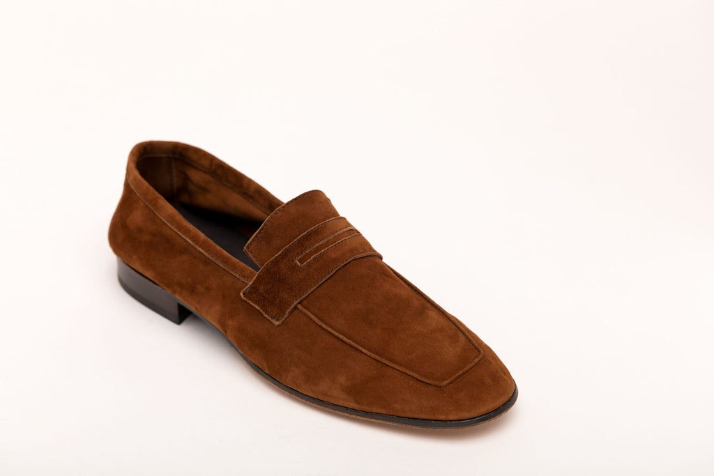 Men's Moccasin Tobacco Suede men's moccasins Andrea Carrano