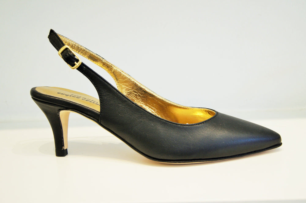 SOFIA SLINGBACK BLACK LEATHER Heels andreacarrano