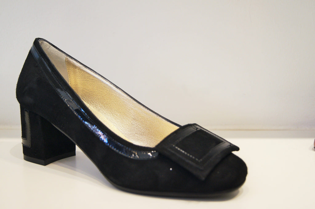VOLA BLACK SUEDE LEATHER WITH PATENT Heels andreacarrano