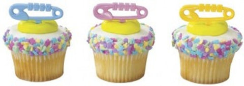 12 Baby Diaper Pin Cupcake Picks