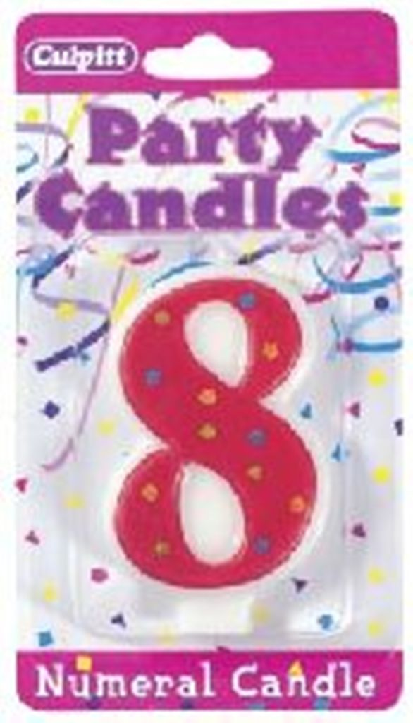 Numeral 8 Eighth Birthday Stars & Dots Candle