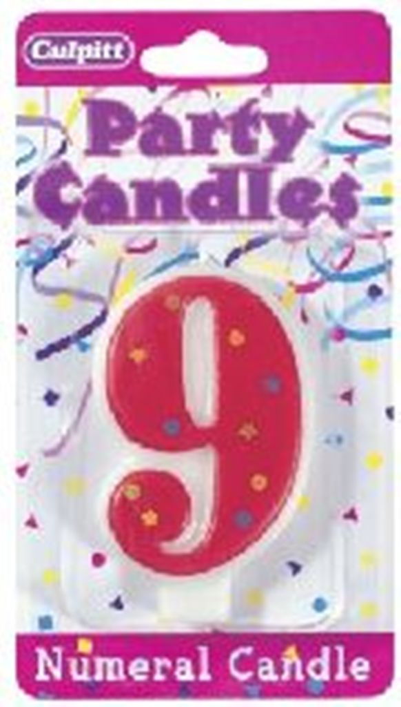 Numeral 9 Birthday Stars & Dots Candle