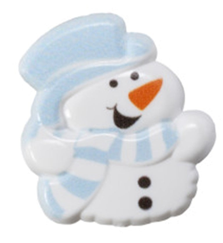 24 Puffy Snowman Cupcake Topper Rings
