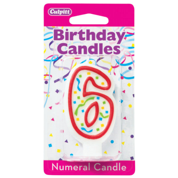 Numeral 6 Sixth Birthday Party Candle