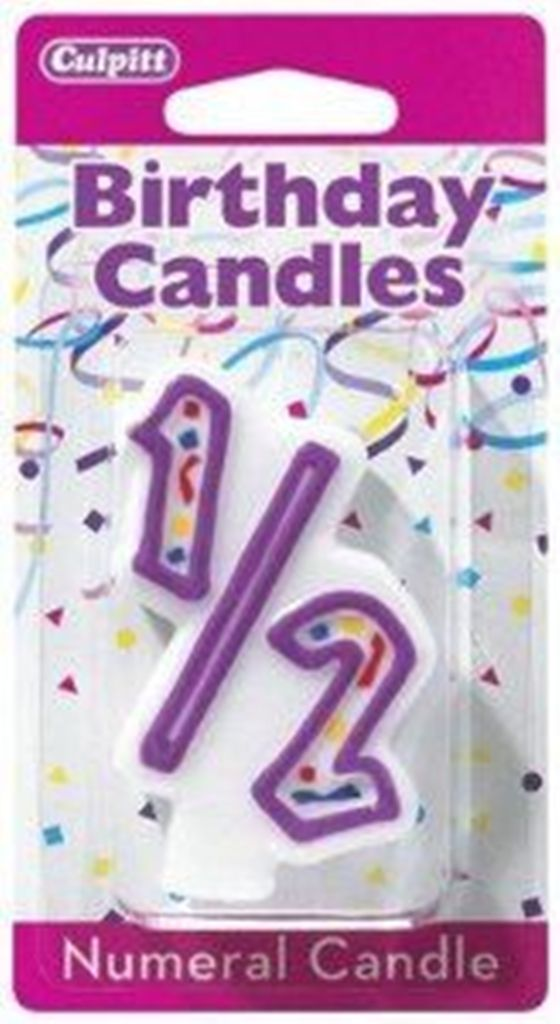 Numeral One Half 1/2 Birthday Party Candle