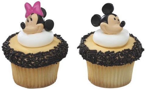 24 Disney Mickey & Minnie Mouse Cupcake Topper Rings