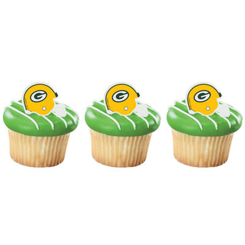 24 NFL Green Bay Packers Football Helmet Cupcake Topper Rings