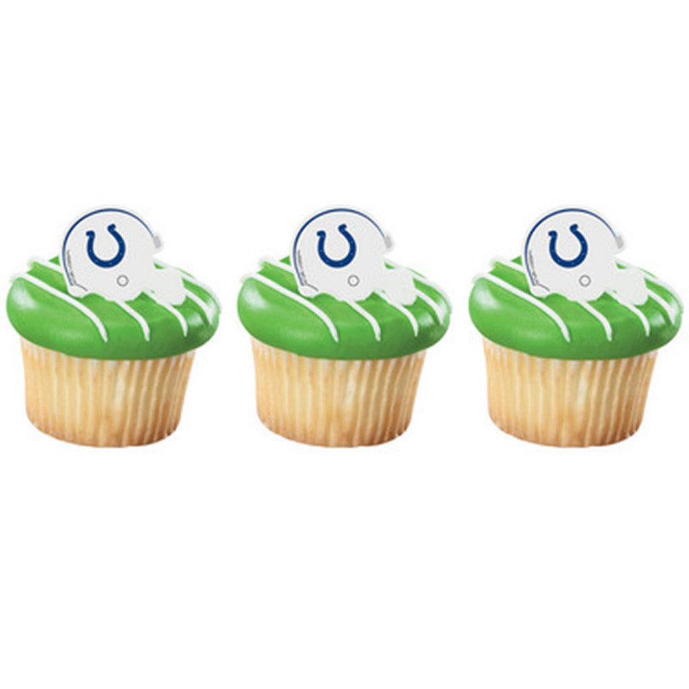 24 NFL Indianapolis Colts Football Helmet Cupcake Topper Rings