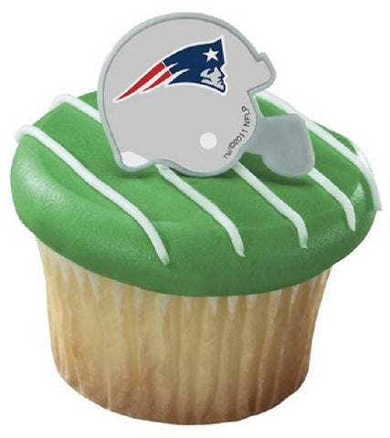 24 NFL New England Patriots Football Helmet Cupcake Topper Rings