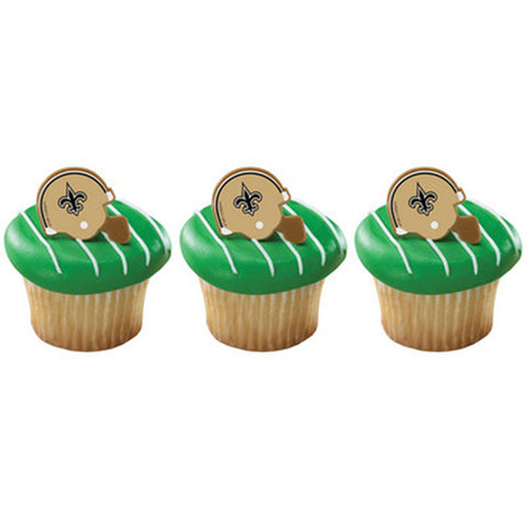 24 NFL New Orleans Saints Football Helmet Cupcake Topper Rings