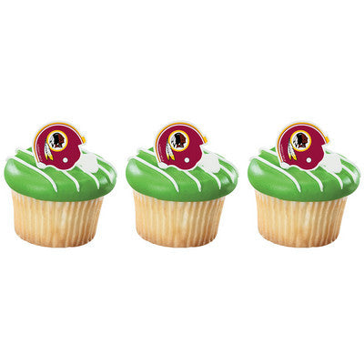 24 NFL Washington Red Skins Football Helmet Cupcake Topper Rings