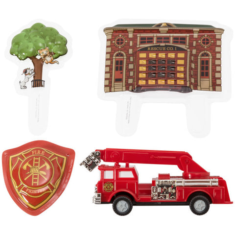 Fire Truck and Station Cake Topper