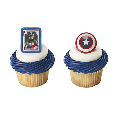 24 Captain America Cupcake Topper Rings