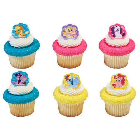 24 My Little Pony Cutie Beauty Cupcake Topper Rings