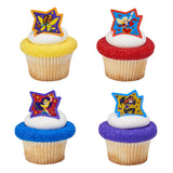 24 DC Super Hero Girls™ Just Be Awesome! Cupcake Topper Rings