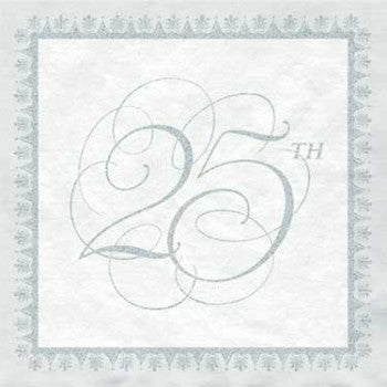 Wedding Elegance 25th Anniversary Party Beverage Napkins
