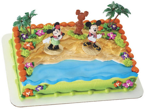 Mickey and Minnie Mouse Luau Party Cake Topper Set