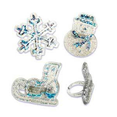 24 Cold Weather Snowflake, Snowman, & Ice Skate Cupcake Topper Rings
