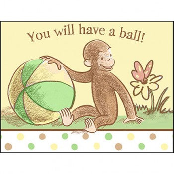 Curious George Cute and Curious Baby Party Invitations