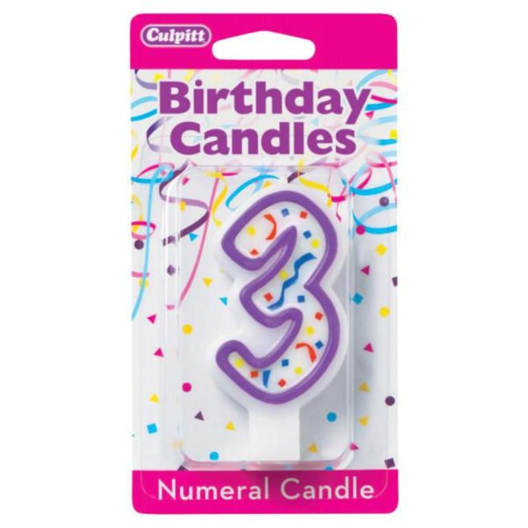Numeral 3 Third Birthday Party Candle - Purple