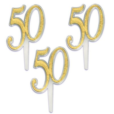 12 Fiftieth (50th) Large Gold Anniversary Cupcake Topper Picks