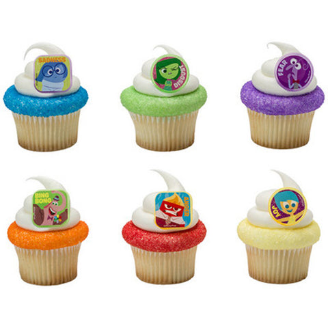 24 Inside Out Riley's Emotions Cupcake Topper Rings