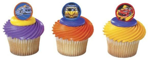 12 Hot Wheels Cupcake Topper Rings