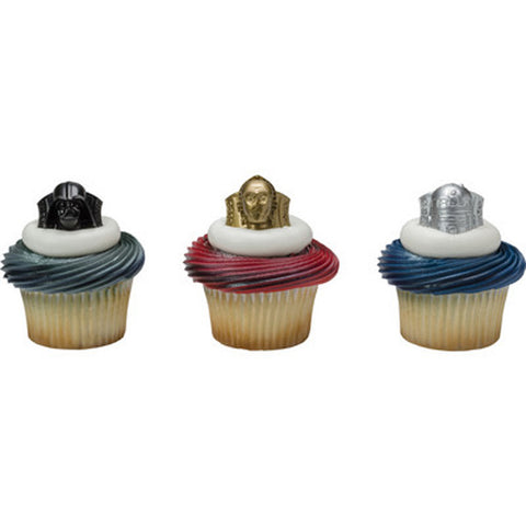 24 Star Wars Darth Vader, C3PO and R2D2 Cupcake Topper Rings