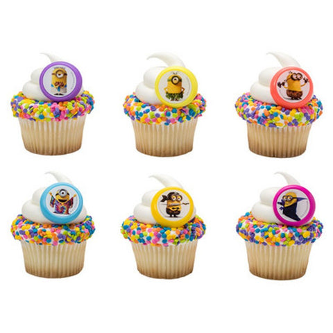 24 Minion Evolution Cupcake Topper Rings