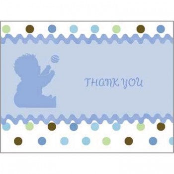 Tickled Blue Baby Shower Thank You Notes