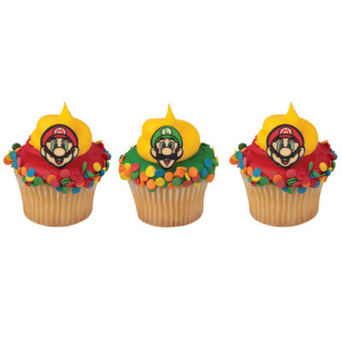 12 Assorted Super Mario Printed SugarSoft Edible Cake & Cupcake Topper Decorations