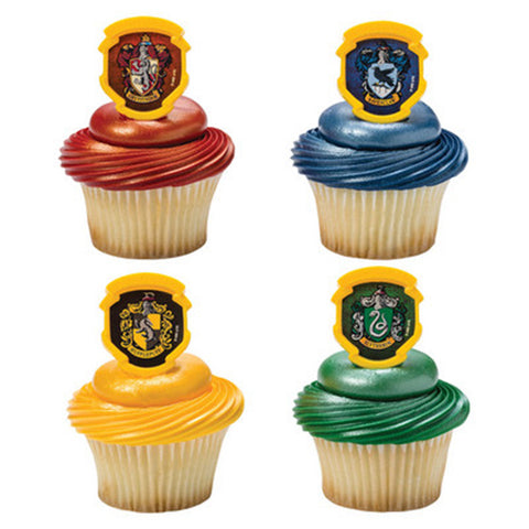 24 Harry Potter Hogwarts Houses Cupcake Topper Rings