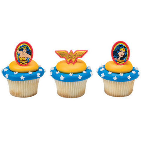 22  Wonder Woman Amazing Amazon Cupcake Topper Rings