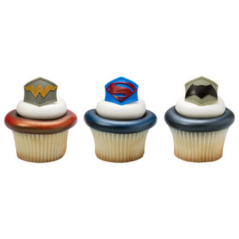 24 Batman v. Superman: Dawn of Justice Emblem Cupcake Rings Cake Decor Toppers featuring Superman, Batman, & Wonder Woman