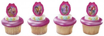 24 Disney Princess Glitter Ribbon Frame Cupcake Rings