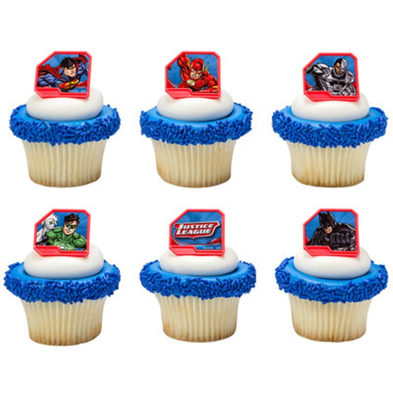 24 Justice League Cupcake Topper Rings