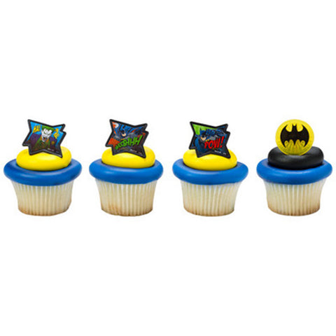 24 Batman - Pow Whooshhh Cupcake Rings Cake Decor Toppers