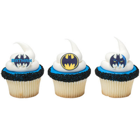 12 Assorted Batman Logo Printed SugarSoft Edible Cake & Cupcake Topper Decorations