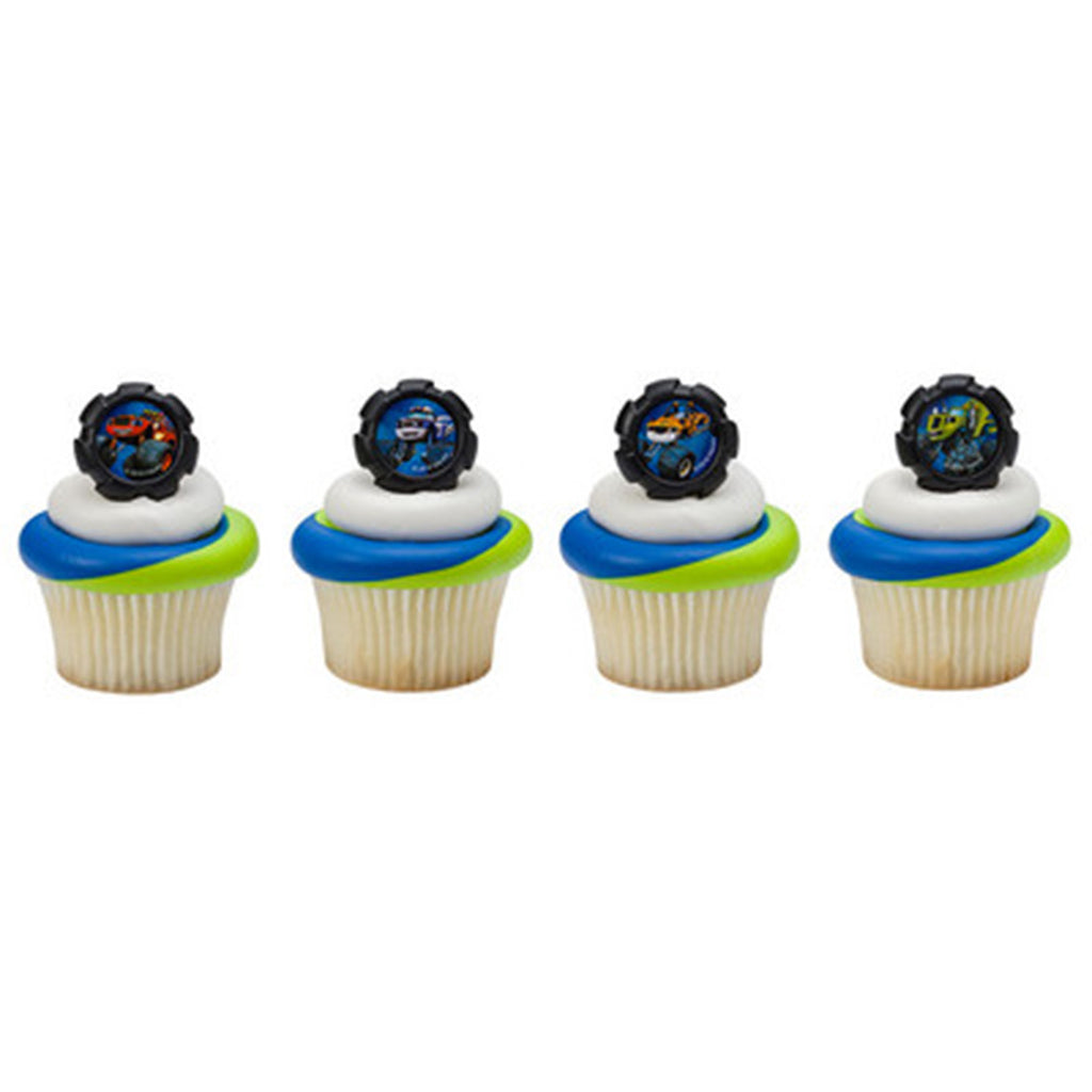 24 Blaze Wheels Cupcake Rings Cake Decor Toppers