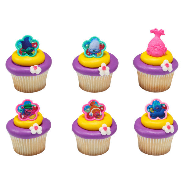 24 Dreamworks Trolls True Colors Cupcake Topper Rings