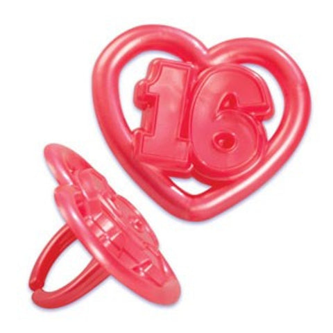 10 Sweet 16 Heart Cupcake Rings
