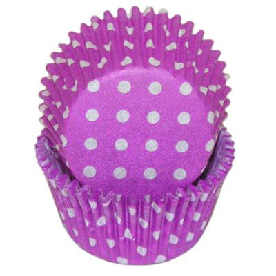 Purple with White Polka Dot Cupcake Baking Cups