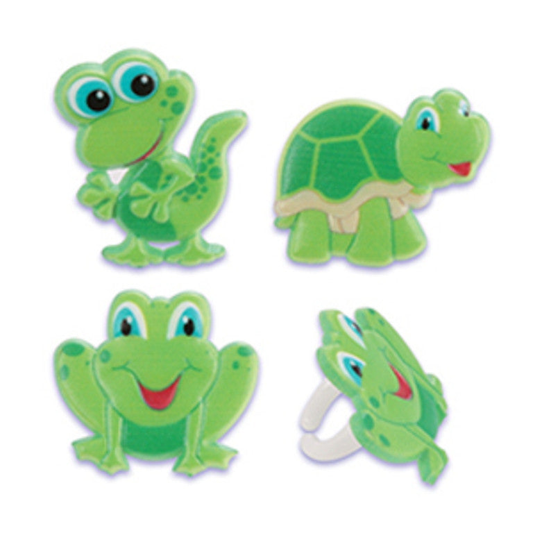 24 Gecko, Frog & Turtle Cupcake Topper Rings