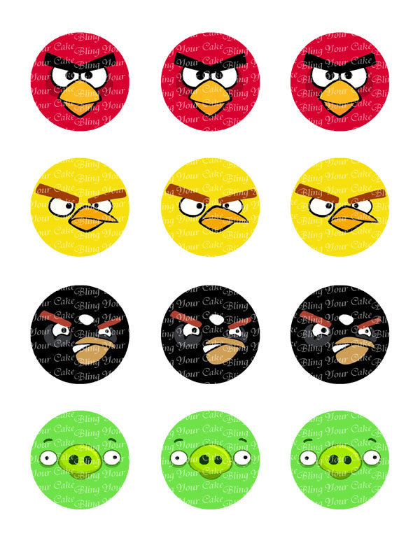 Angry Birds Face Edible Icing Cupcake Decor Toppers - AB2C