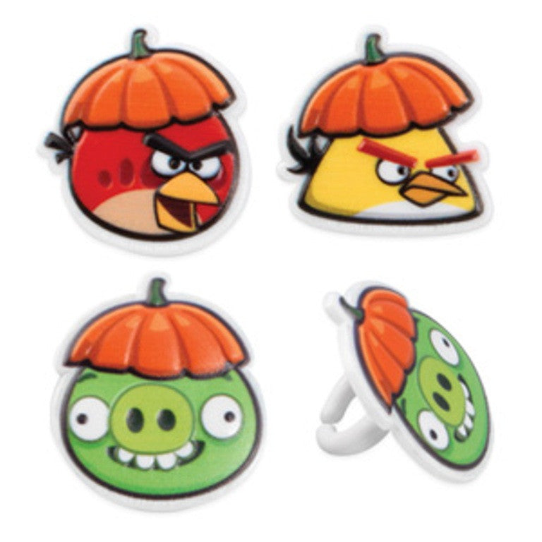 24 Angry Birds Halloween Cupcake Topper Rings
