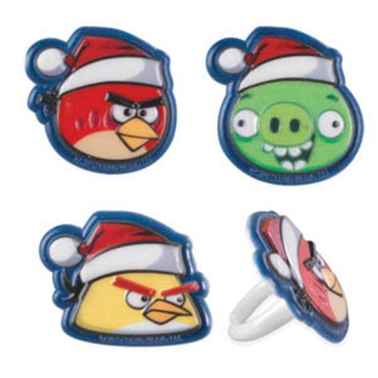 24 Angry Birds Christmas Cupcake Topper Rings