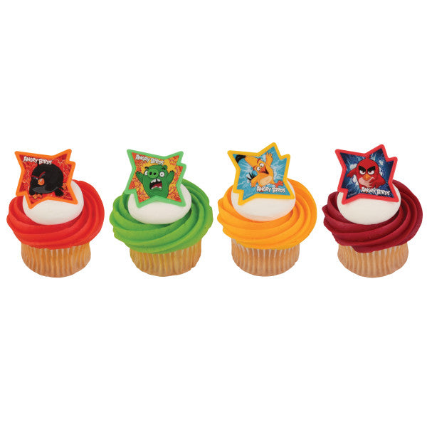 24 Angry Birds Why so Angry? Cupcake Topper Rings
