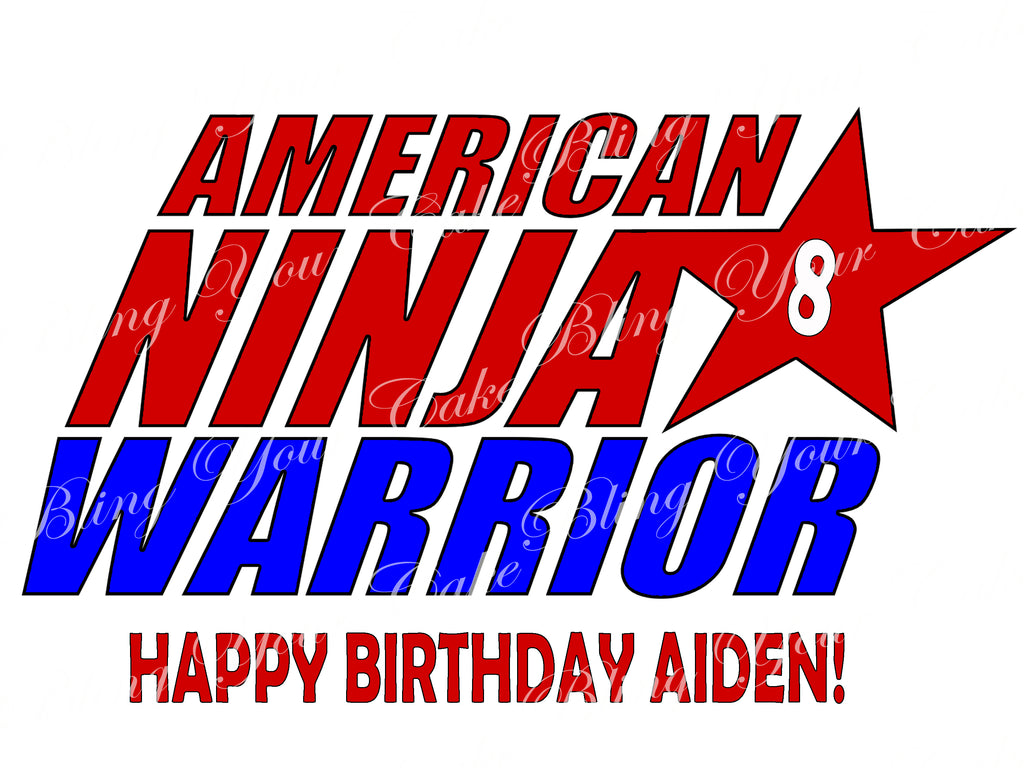 American Ninja Warrior Edible Icing Cake Decor Topper - ANW5